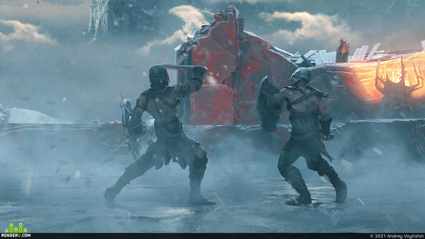 Vikings, cinematic, Official Trailer, OctaneRender, fighting