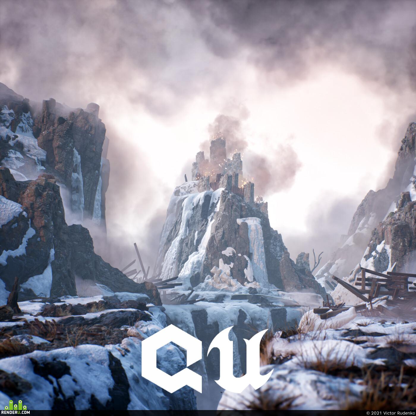 UnrealEngine, QuixelMegascans, 3d, castle, winter, snow