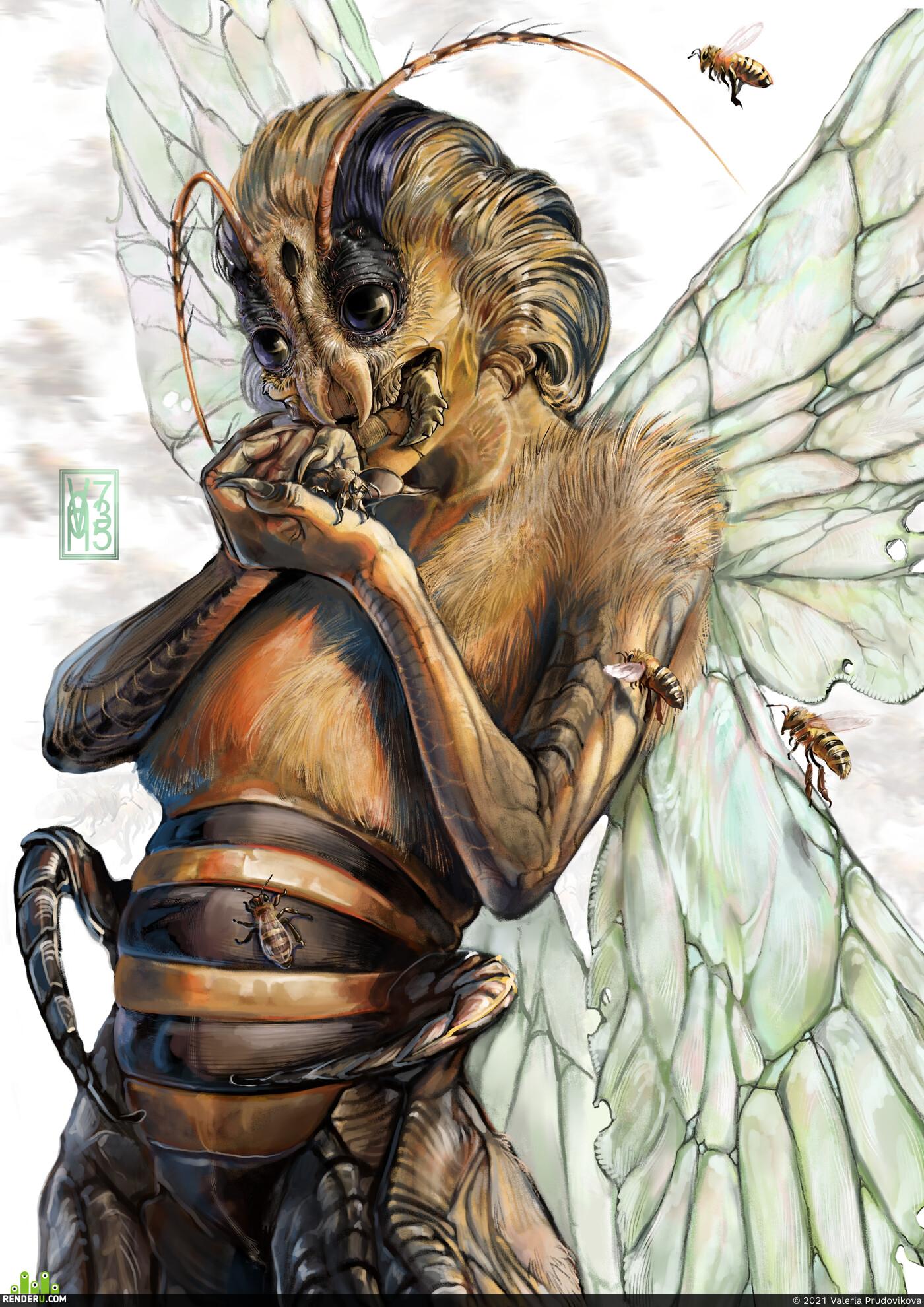 насекомые, королева насекомых, Хуманизация