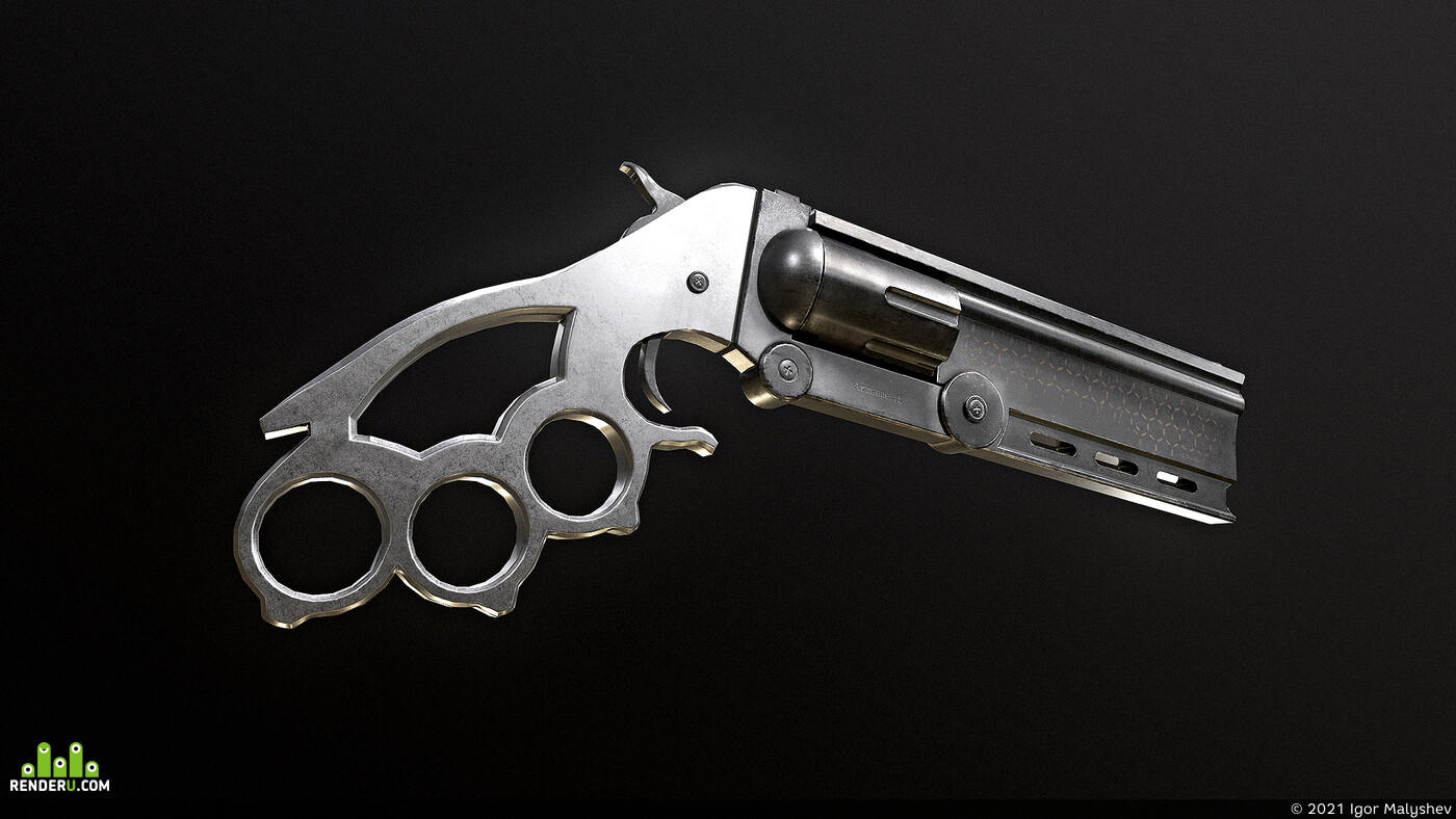 weapon, armament, revolver, pistol, knuckleduster