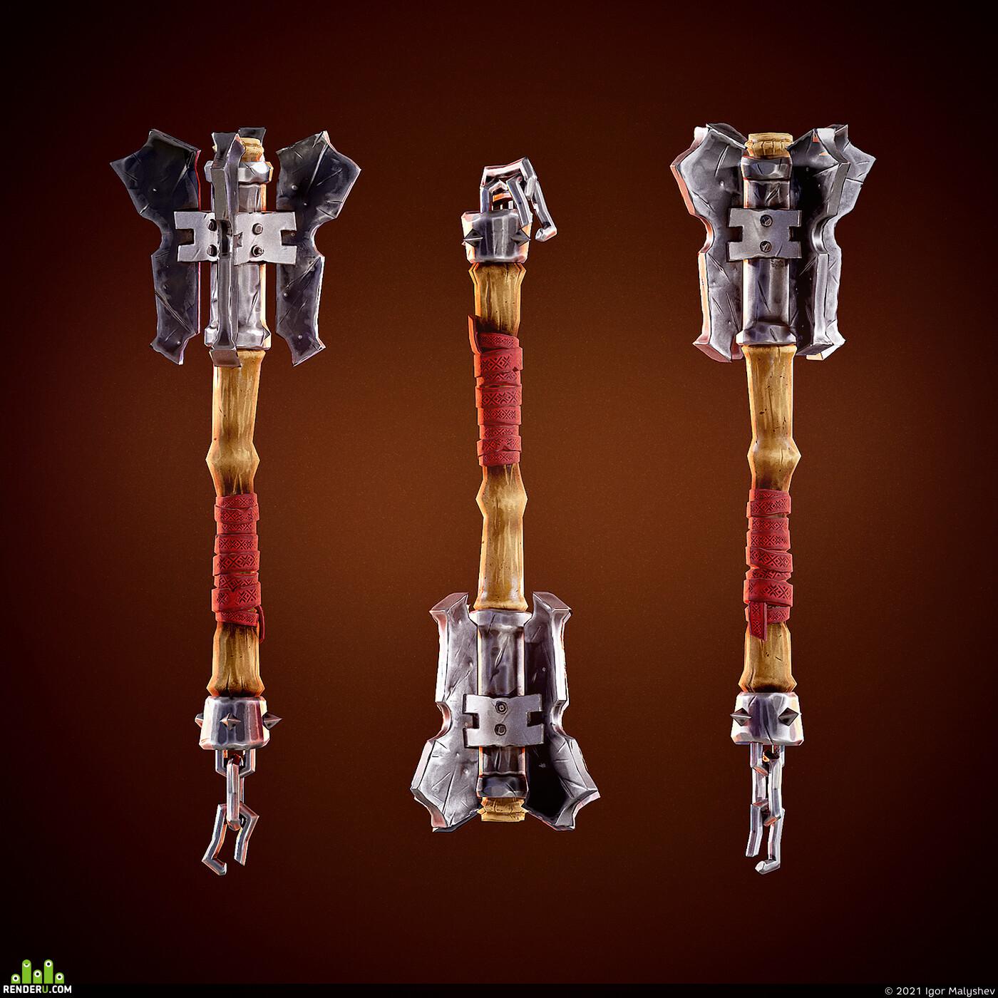 оружие, стилизация, Булава, славянский, булавица, русь, PBR