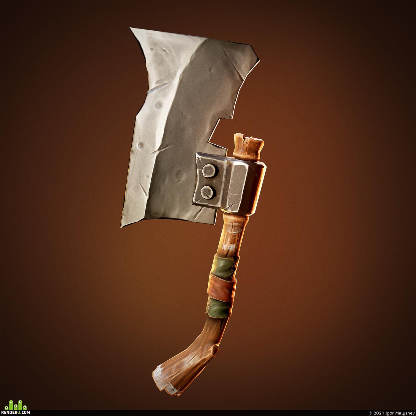 weapon, tool, axe, wood, steel, Stylized, PBR