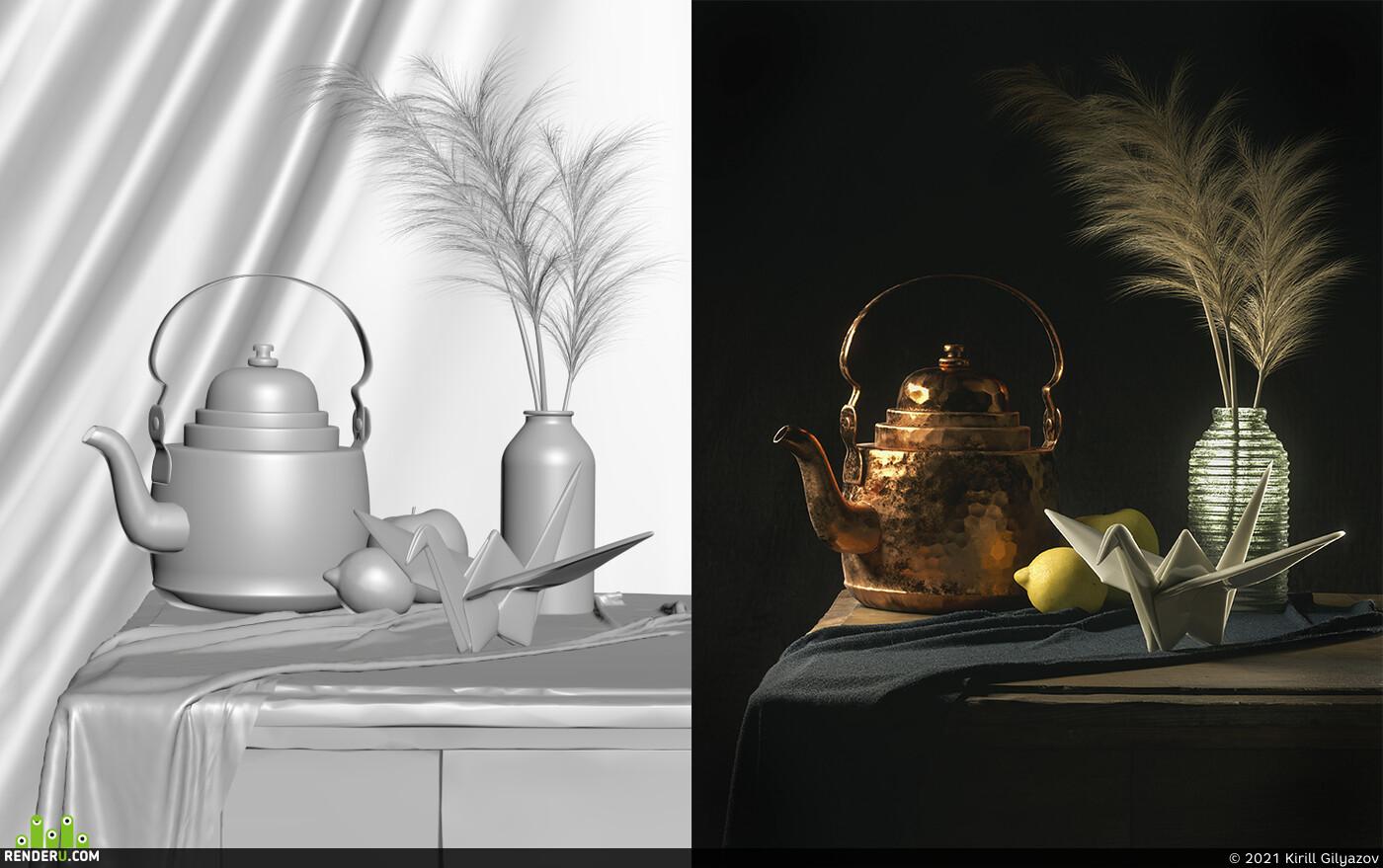 origami, naturmort, mood, lemon, fur, dramatic lighting