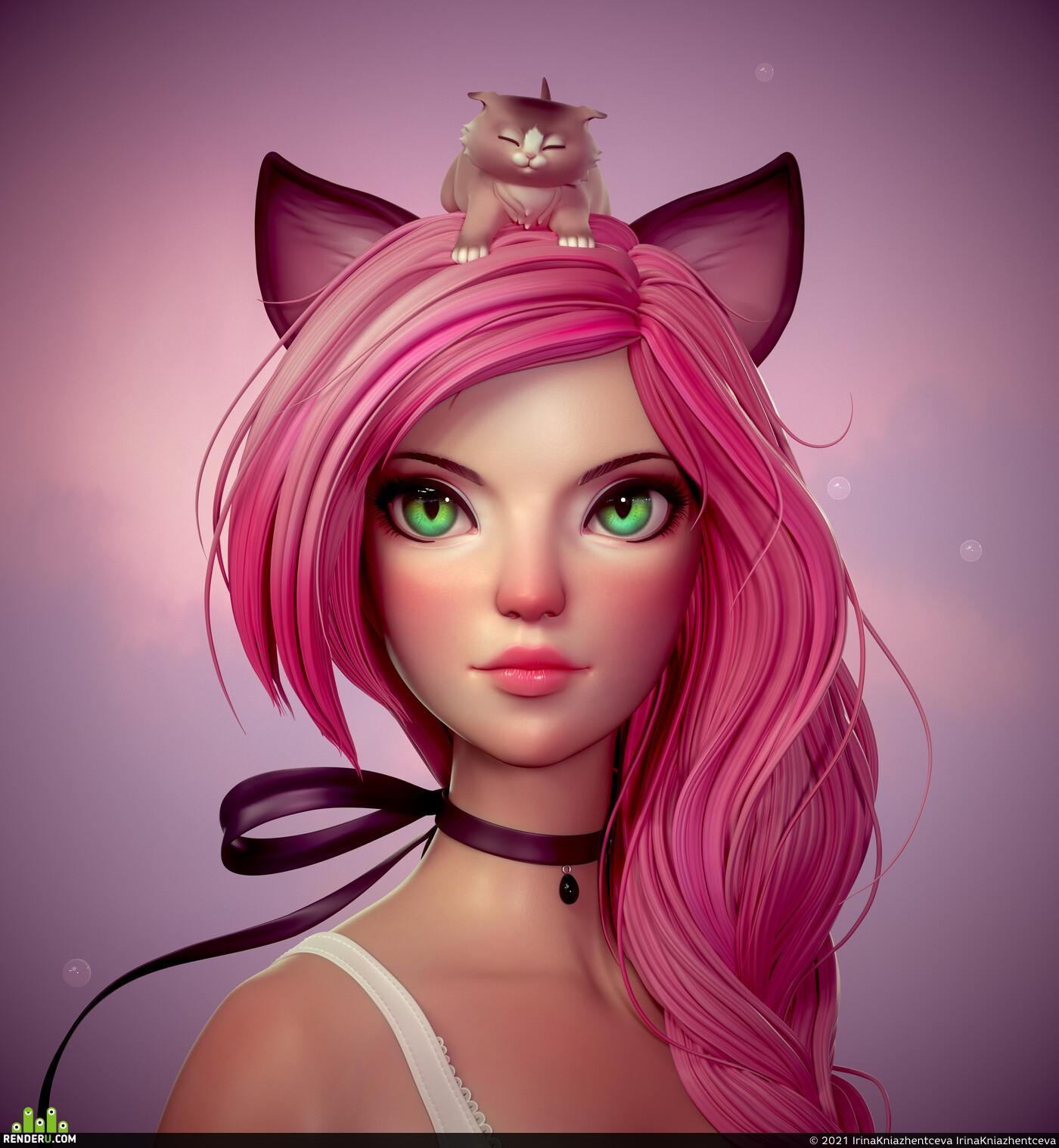 3dgirl, girl, Animals, Animalism, girlportrait