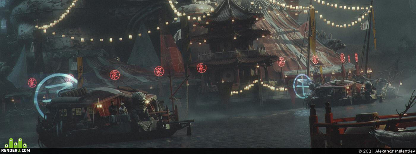 gypsies, Caravan, river, Fog, Fantasy, fantastic, China