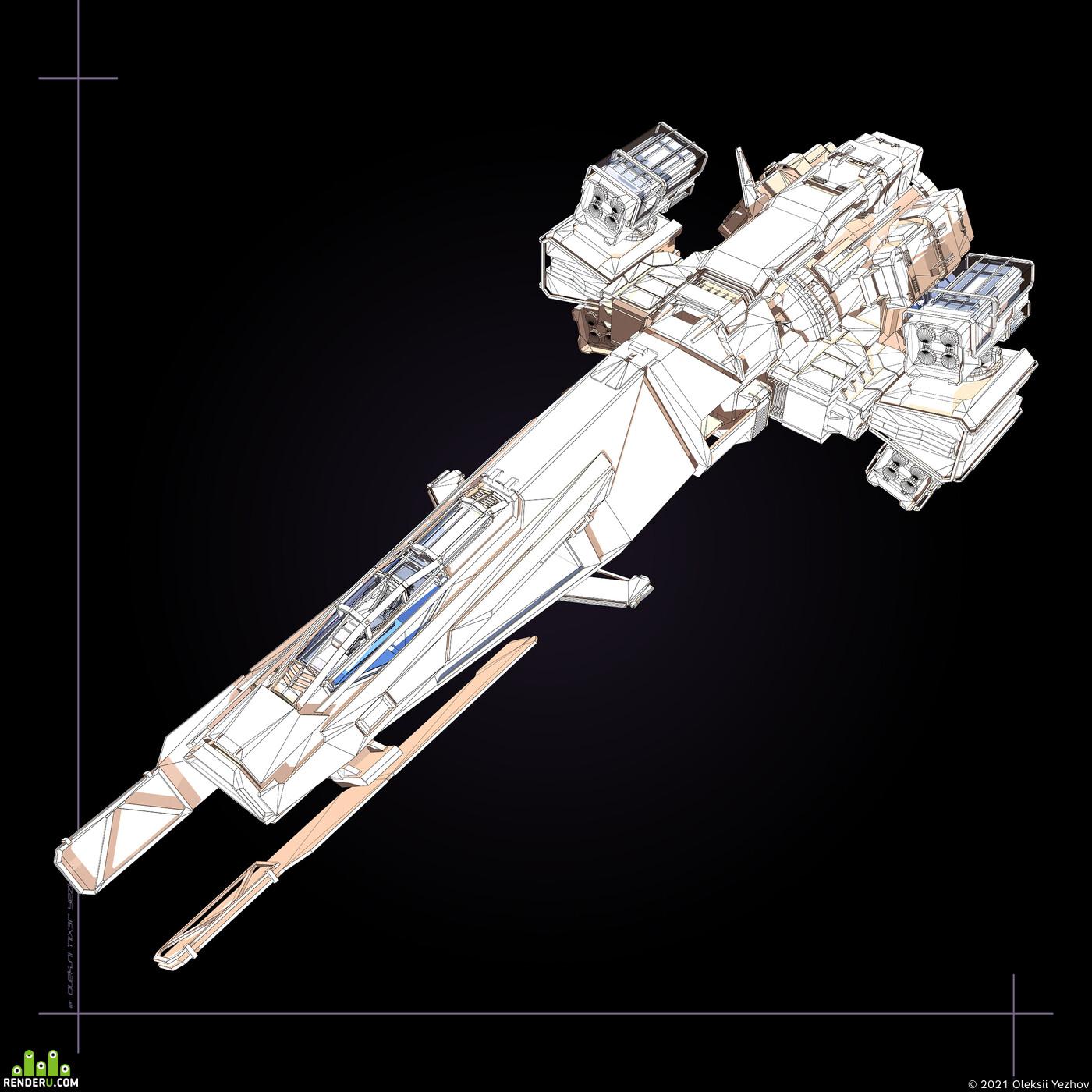 Digital 3D, Game Art, ST-5, Typhoon, Bomber, Spaceship, vechicle