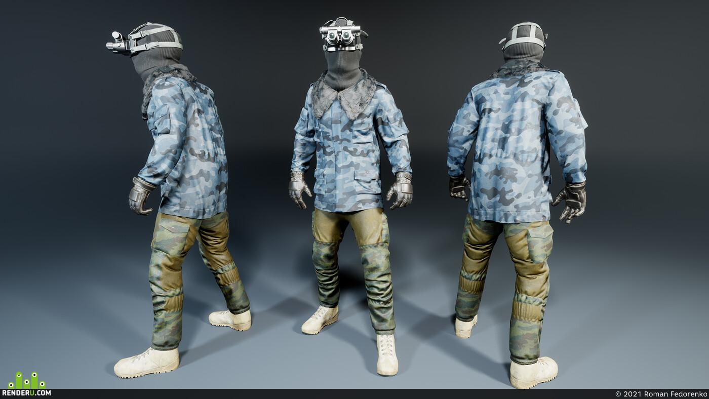 персонаж, игровой персонаж, модульный, солдат, военный, военная одежда, очки, балаклава