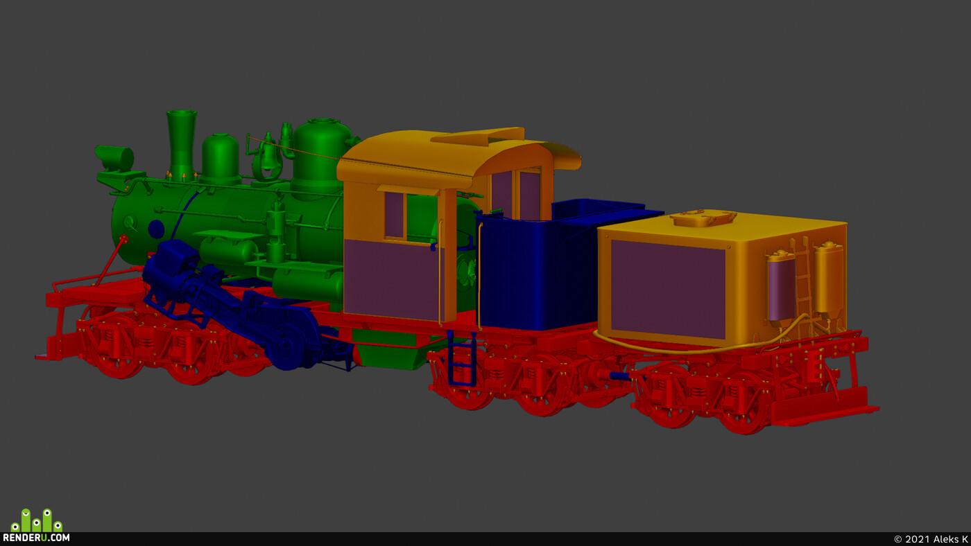blender, hardsurfacs, game ready, Locomotive, Climax class c, Railway