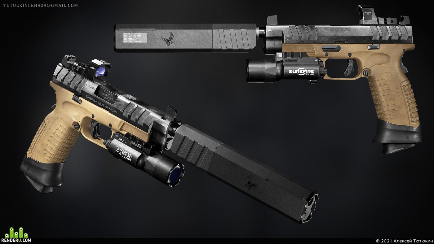 pistol, 3d, blender, shotgun, handgun, Digital 3D