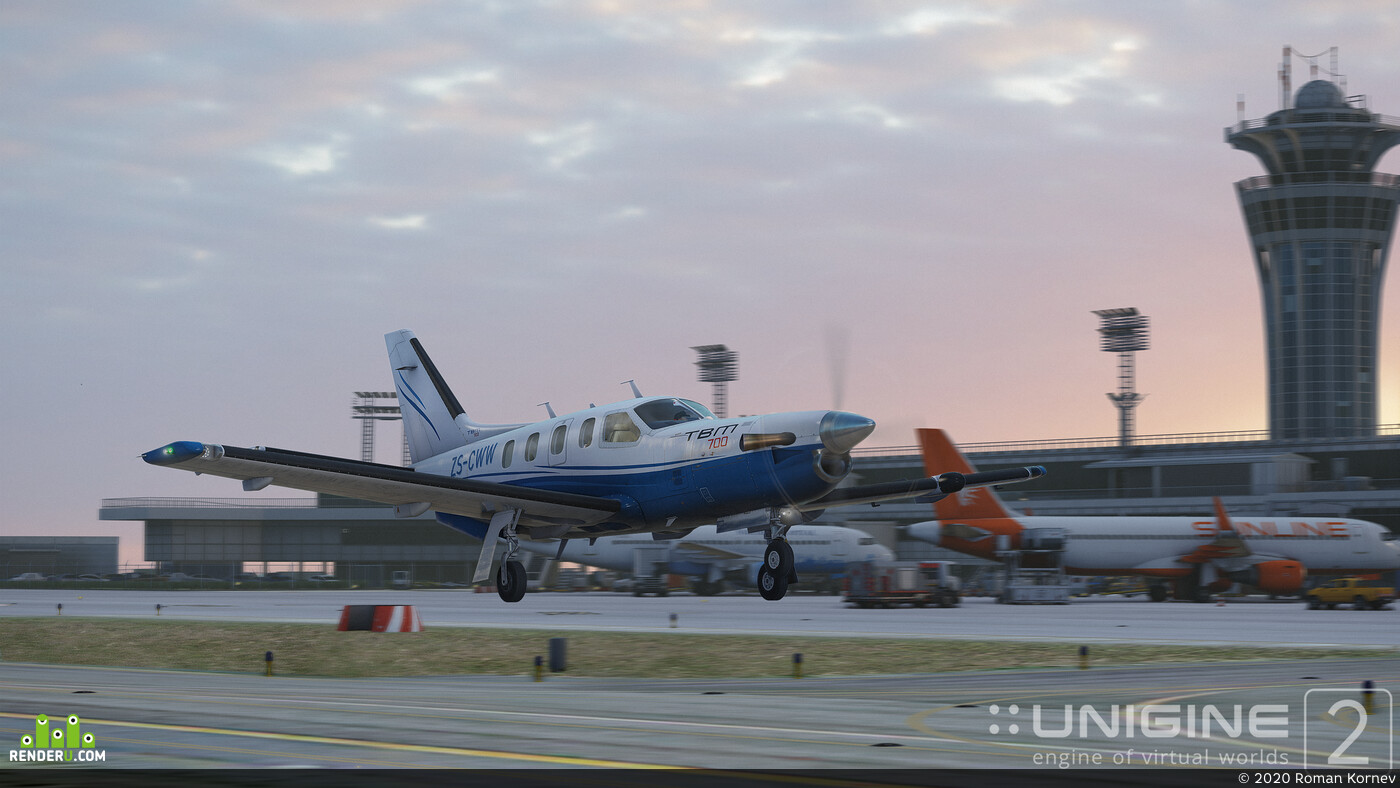 Real-time rendering, airplane, unigine, Digital 3D