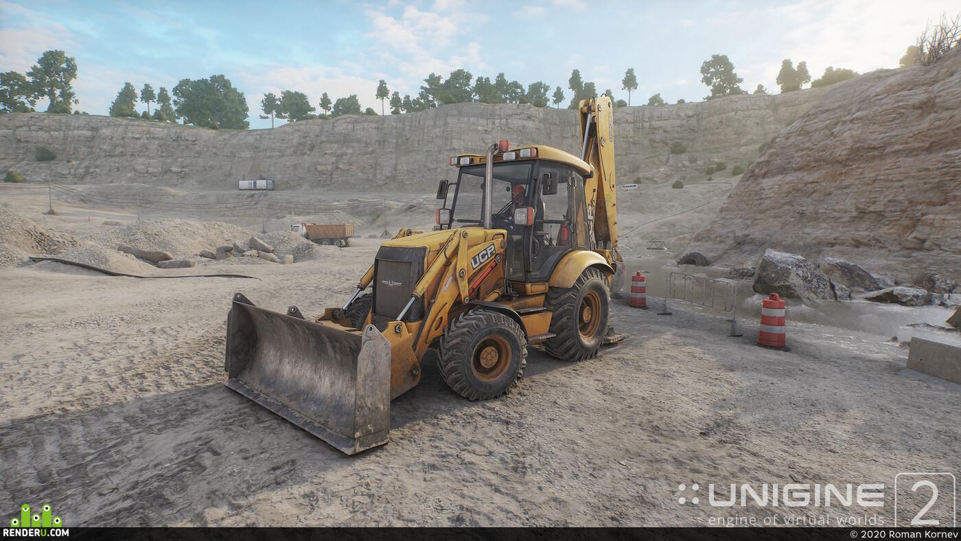 Digital 3D, unigine, tractor, Vehicles, real-time render