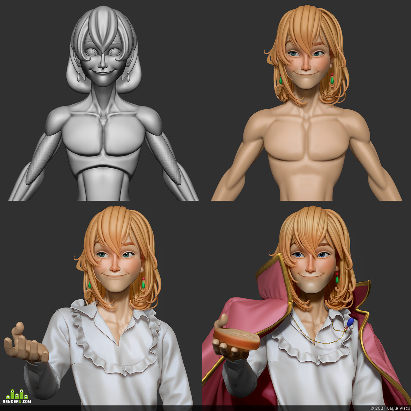 Аниме, персонаж, Персонажи, 3д персонаж, мужской персонаж, гибли, стилизация, Стилизованная модель, СтилизованныйПерсонаж