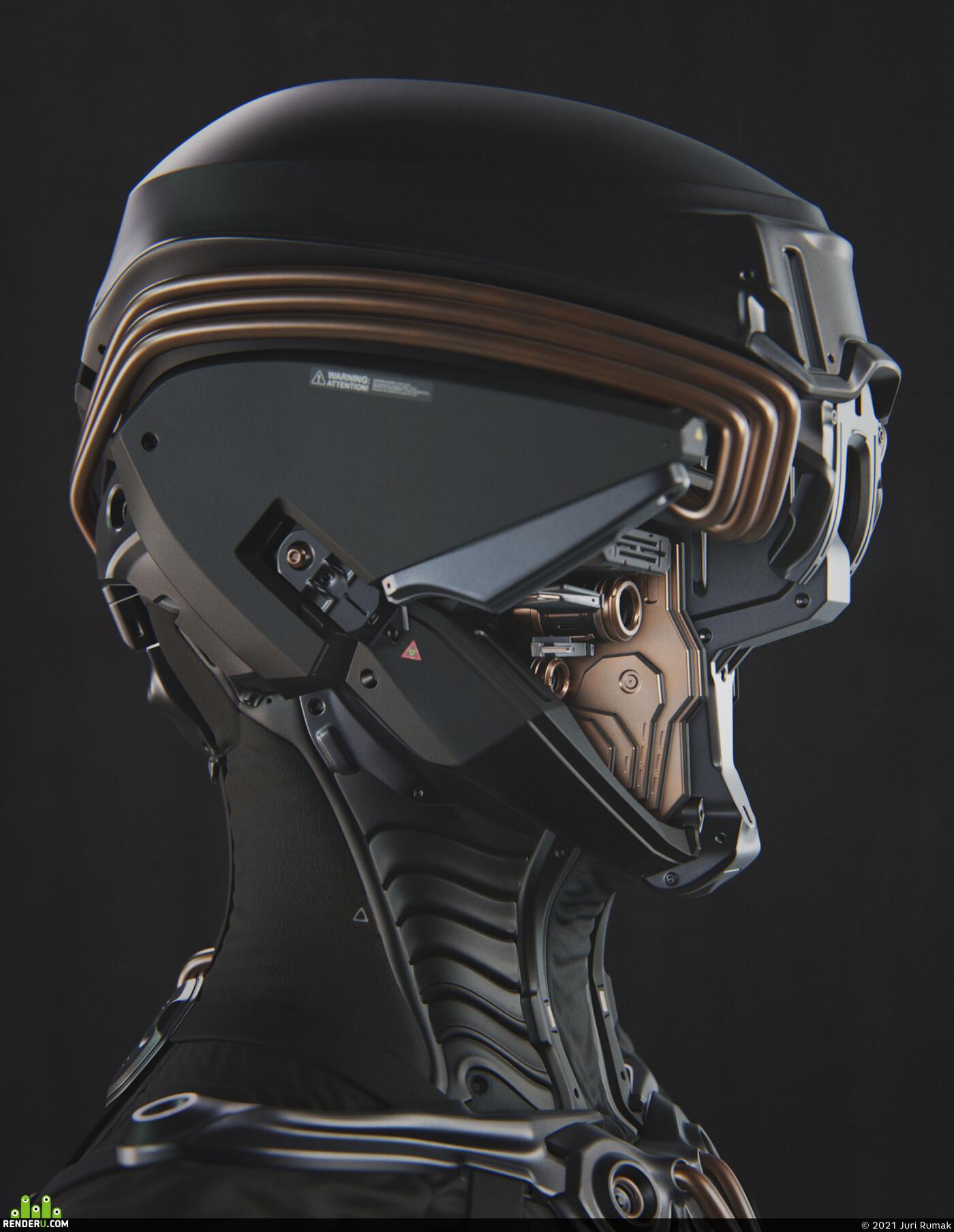 sci-fi, sci-fi helmet, blender, Eevee, concept-art, concept, Character, design_character
