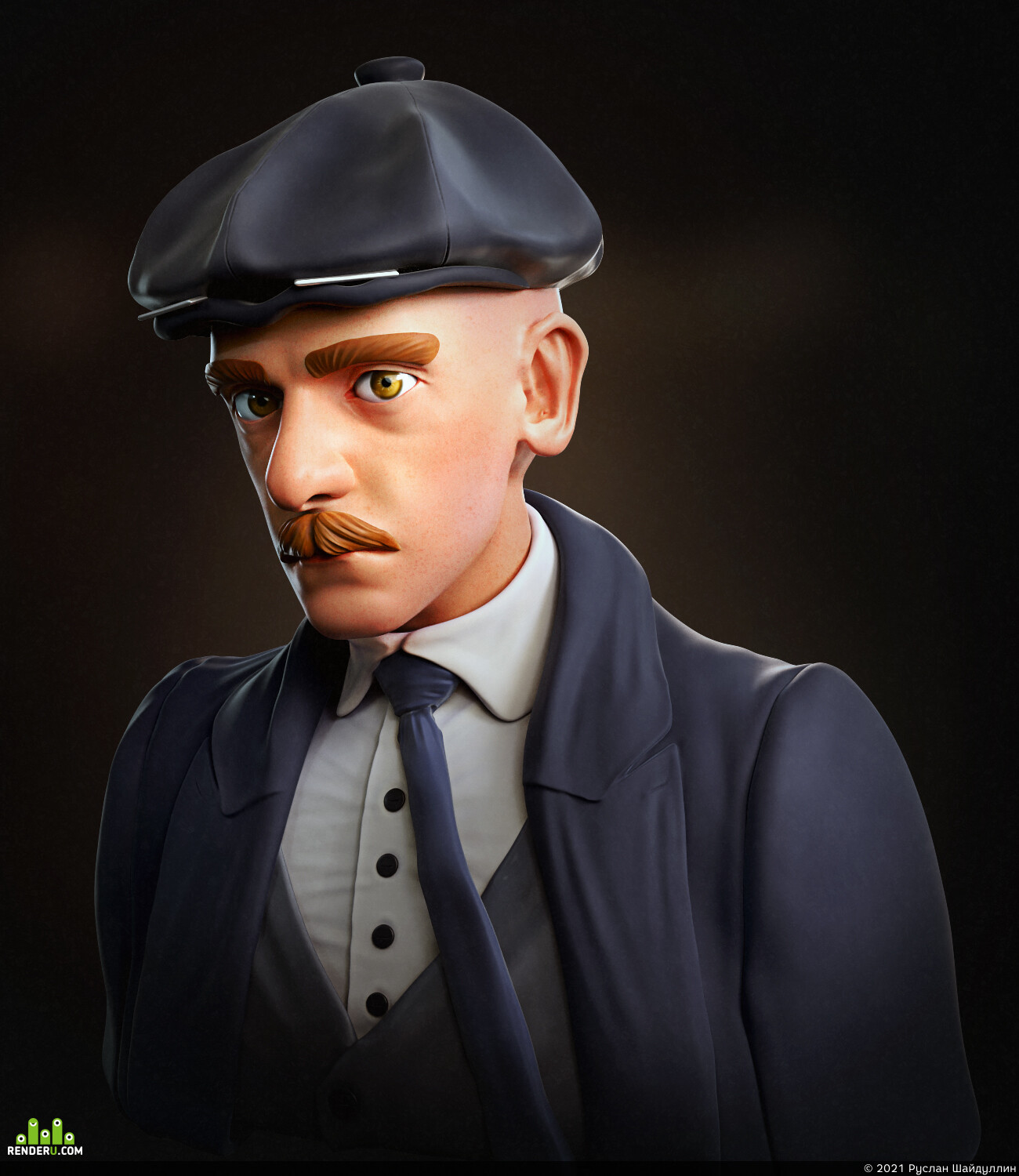 zbrush, 3d characher, Character Design, stylized model, stylized character, Stylized, peaky blinders, Adobe Photoshop, Digital Clothes