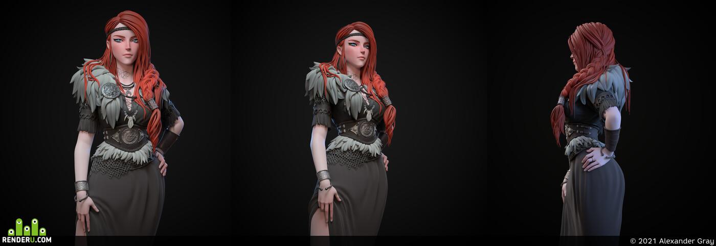 girl, 3dgirl, sculpture, sculpt, zbrushcharacter, Zbrash, characterdesign, female character, Characters, MarmosetToolbag