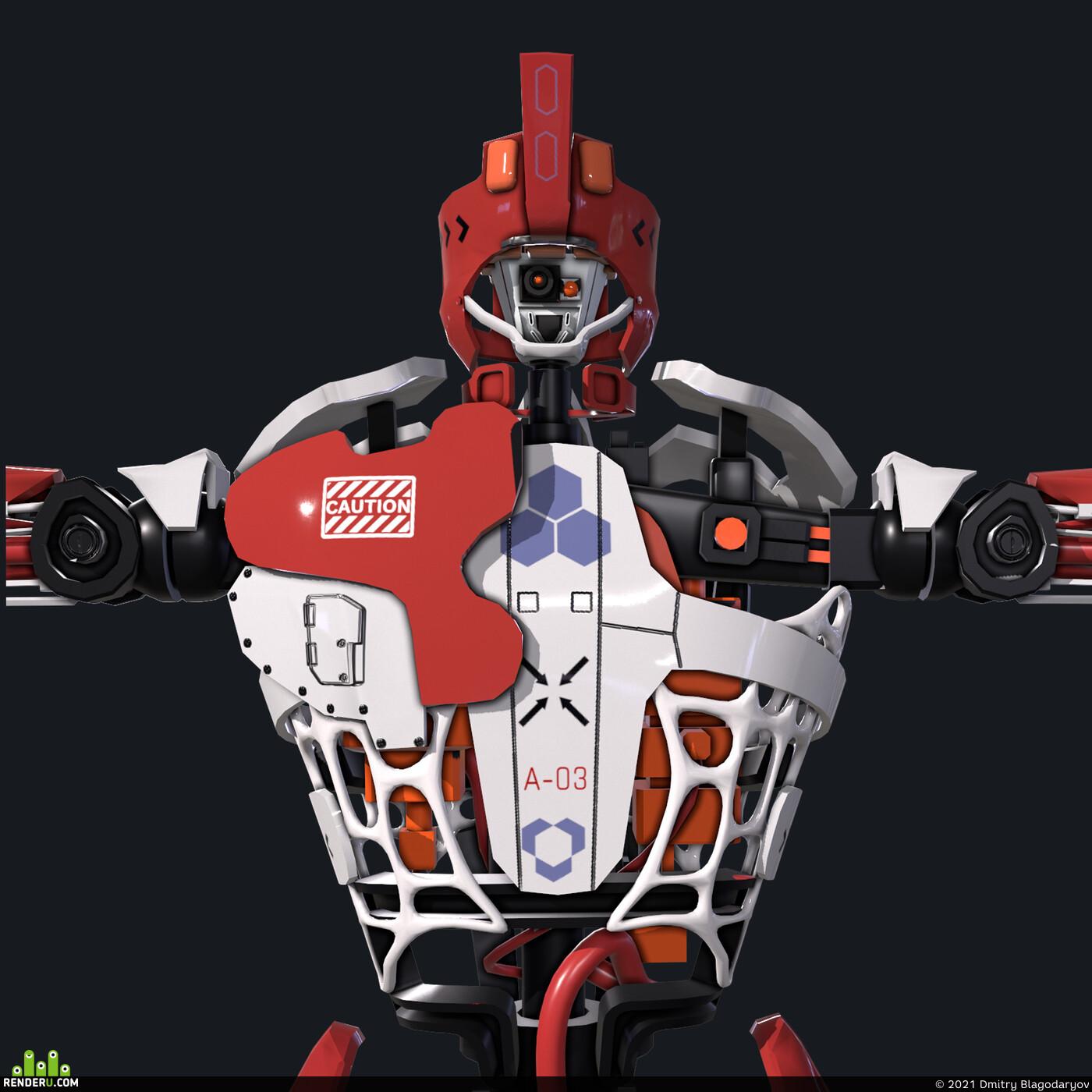 робот, Андроид, киборг, мех, хардсурфейс, hardsurfaces, lowpoly, лоуполи, Game-ready, real time render