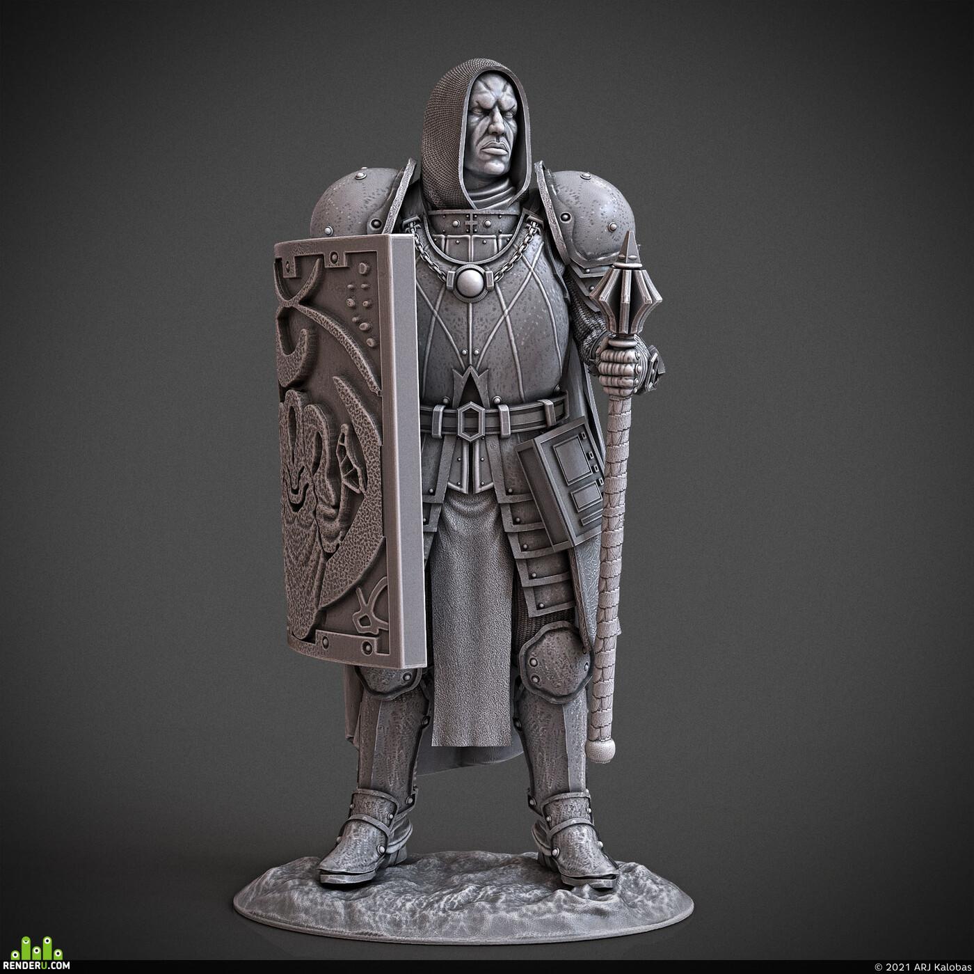 Digital 3D, 3D Printing, Fantasy, Board & Card Game Art, Character Modeling, miniature, arjkalobas, sculpt, 3dprint