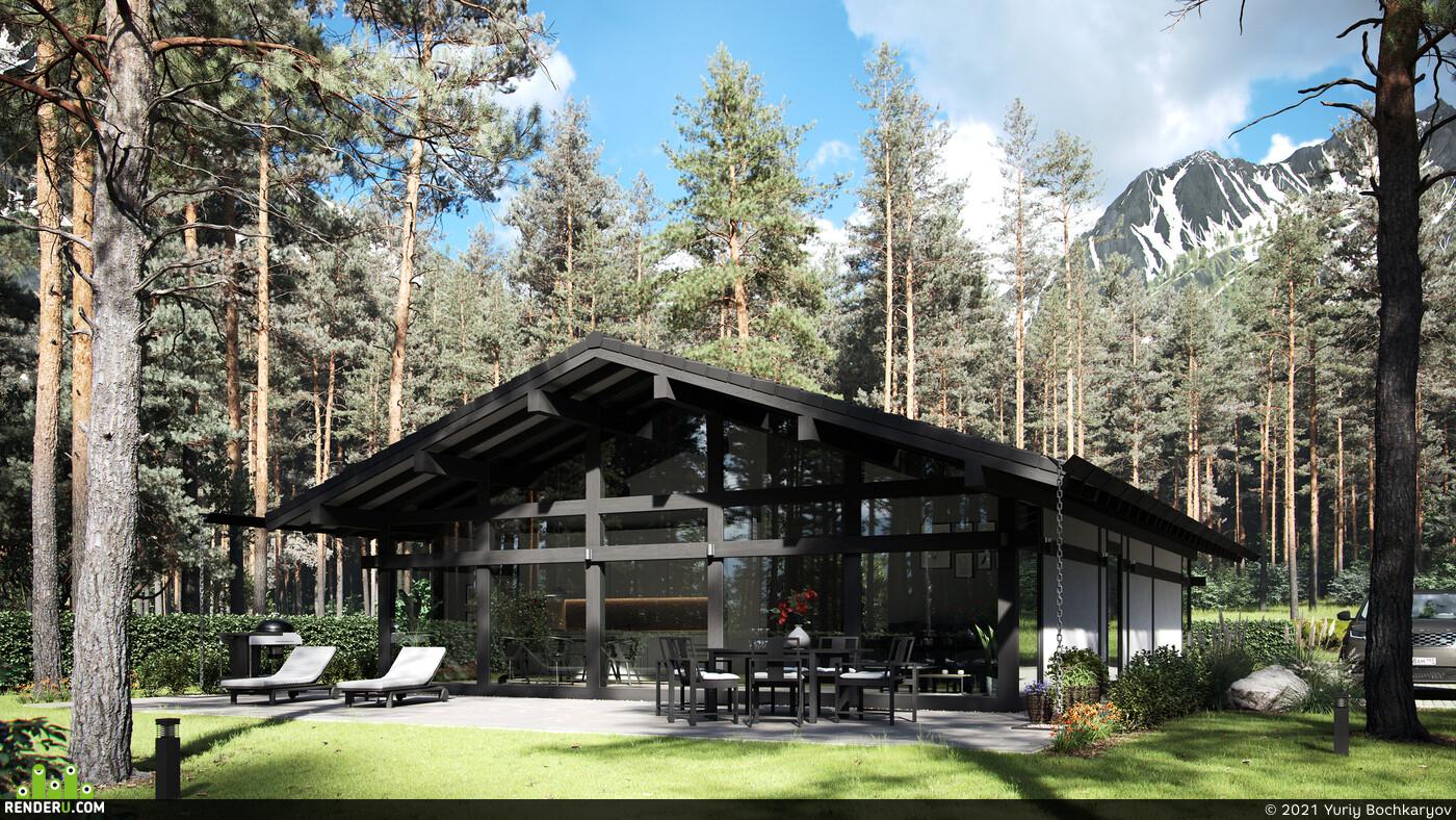 eco house, eco-kit, Yuriy Bochkaryov, Corona Renderer, visualization, Exterior, exteriorrendering, 3d, architecture