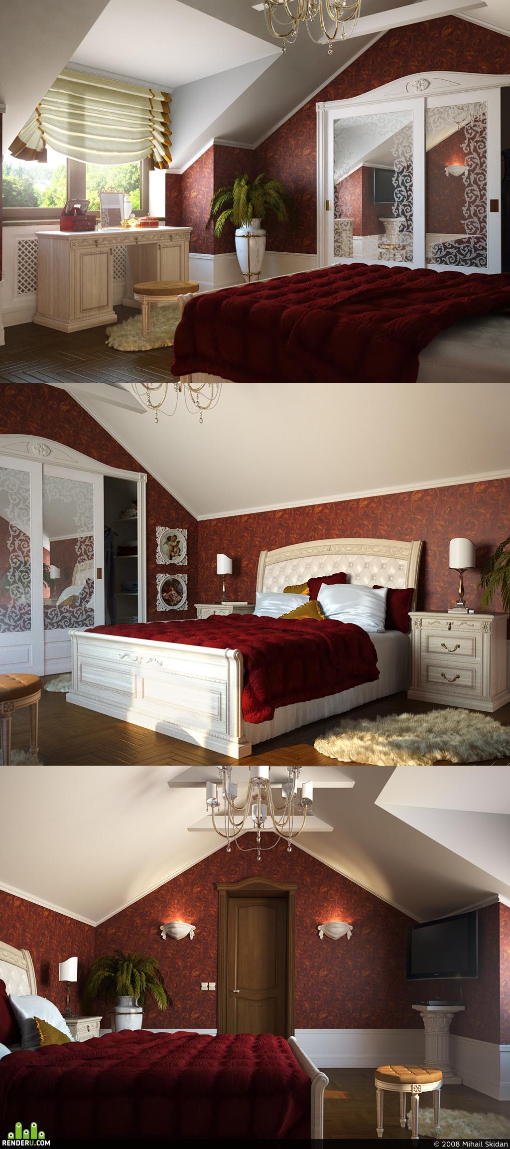 preview Спальня в красном