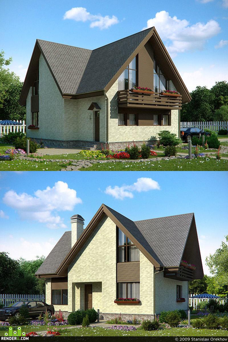 preview Фасад дома для коттеджного поселка
