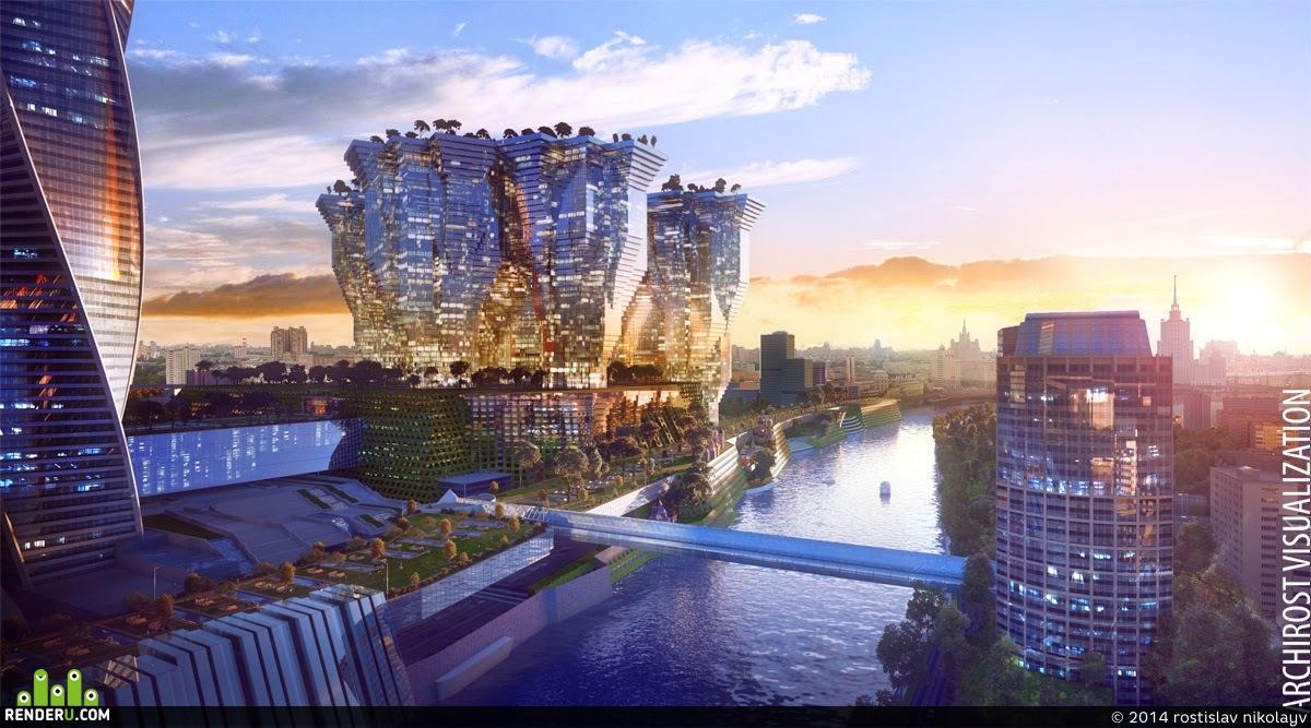 preview Визуализация футуристического комплекса у Москвы-Сити