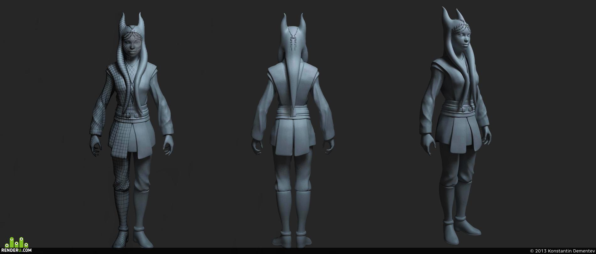preview 3D модель персонаж Джедай расы тогрута