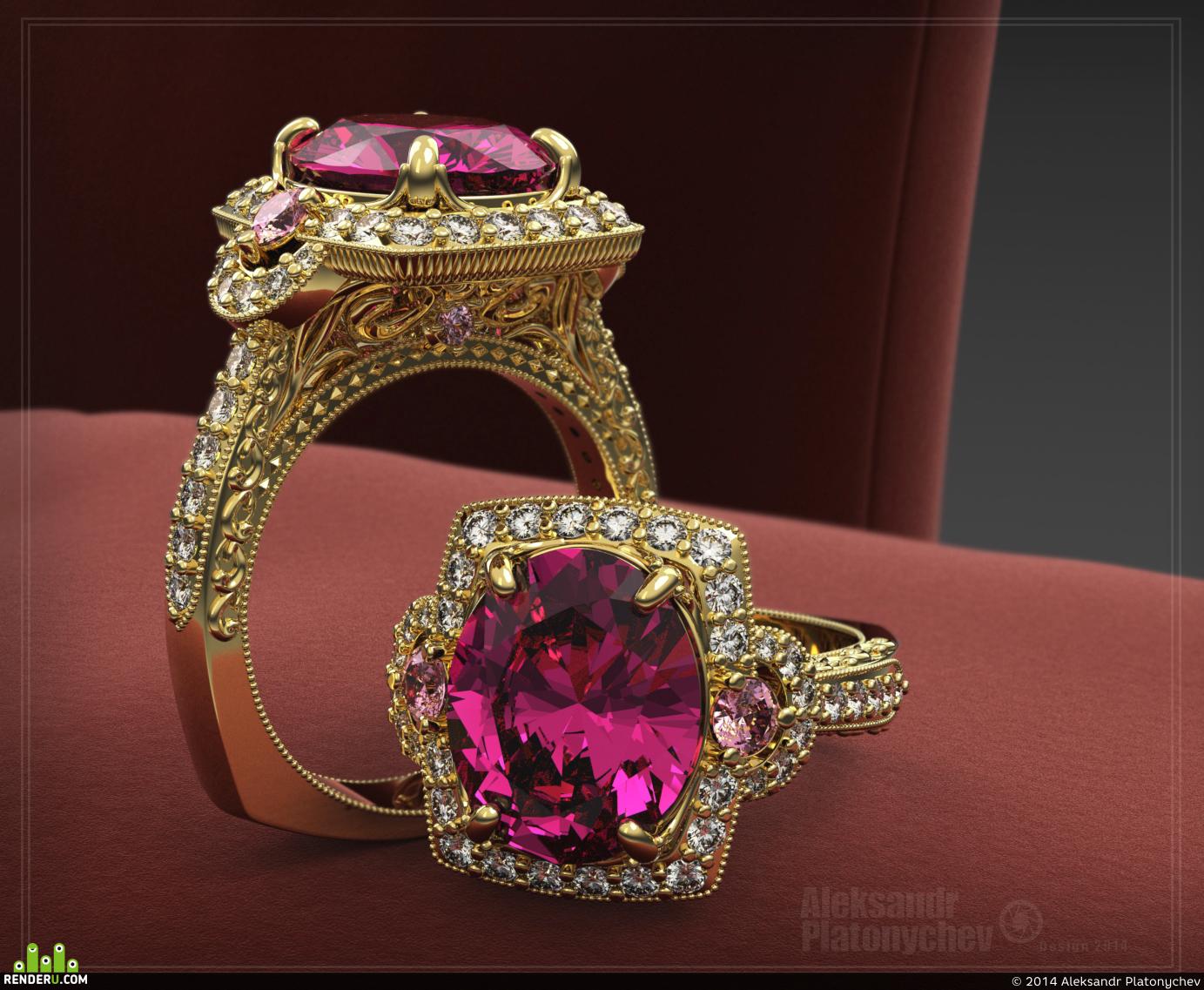 preview Кольцо с Розовым камнем.