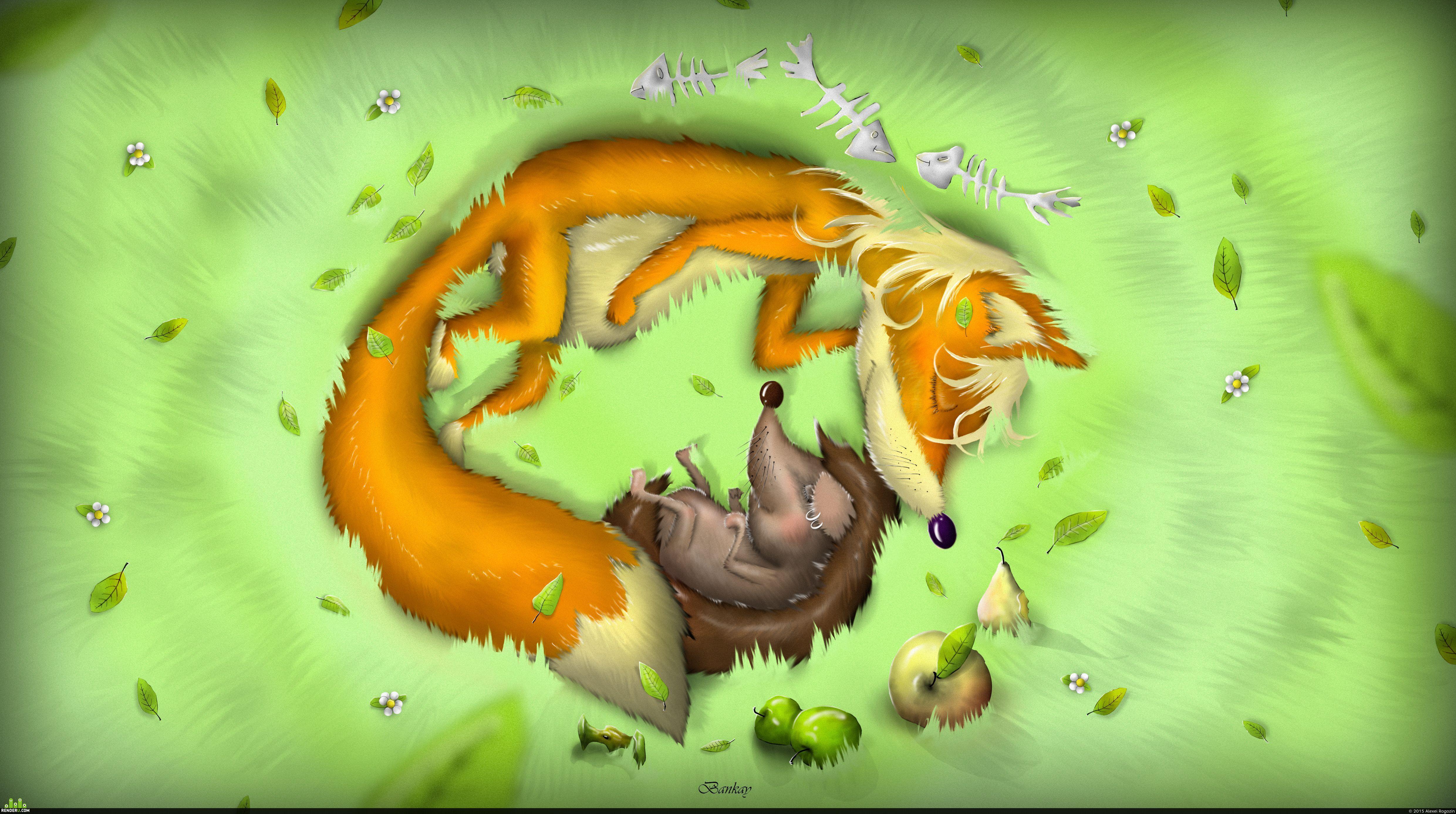 Прикольные картинки про лисичку и ежика