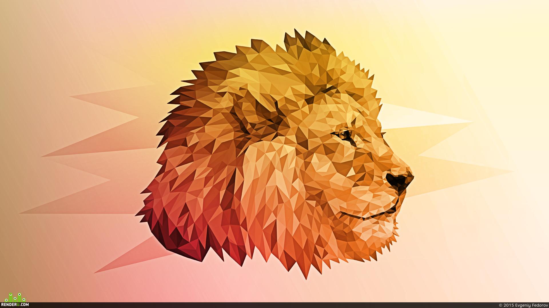 preview Полигональный лев
