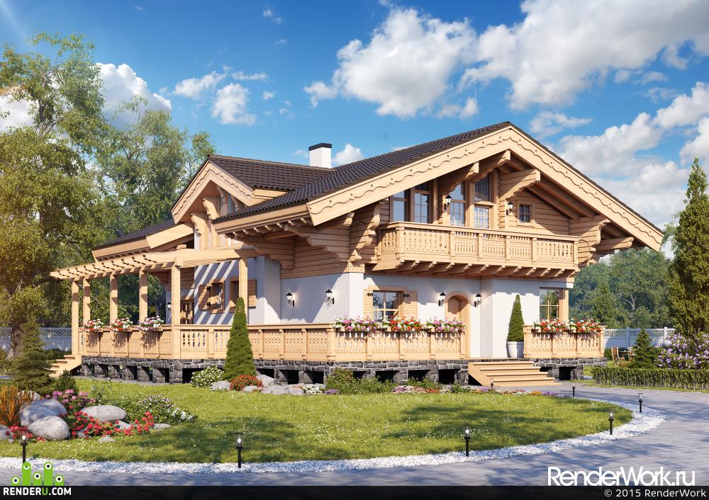 preview Визуализация деревянных домов