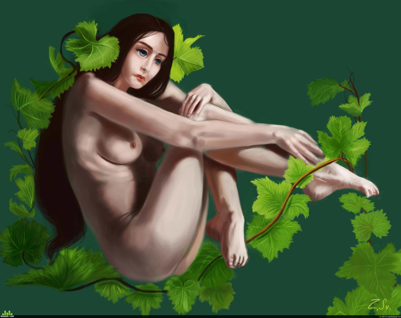 preview девушка и листья винограда