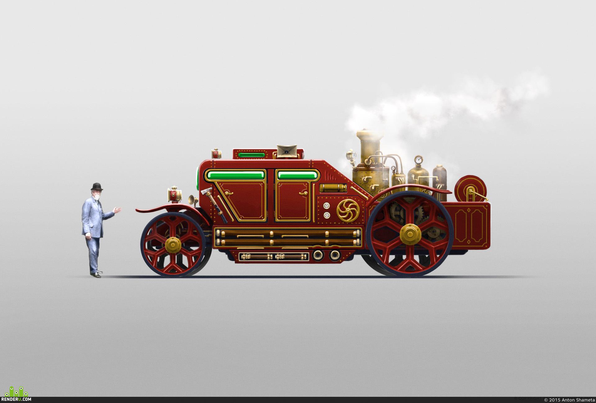 preview Пожарная машина в стиле стимпанк
