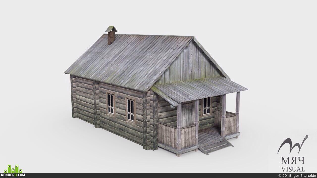 preview Low Poly визуализация деревенских домиков