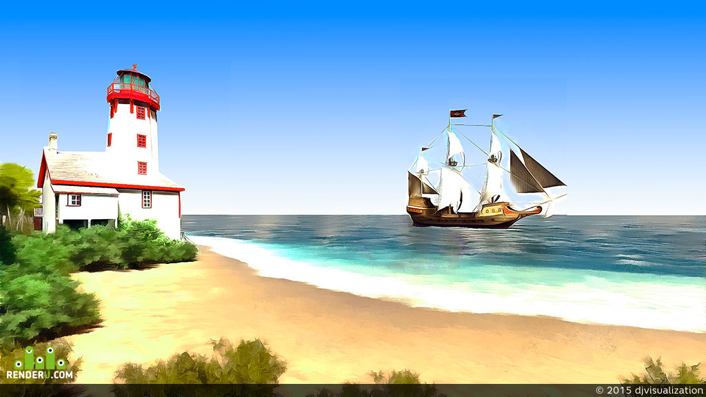 preview Маяк и море