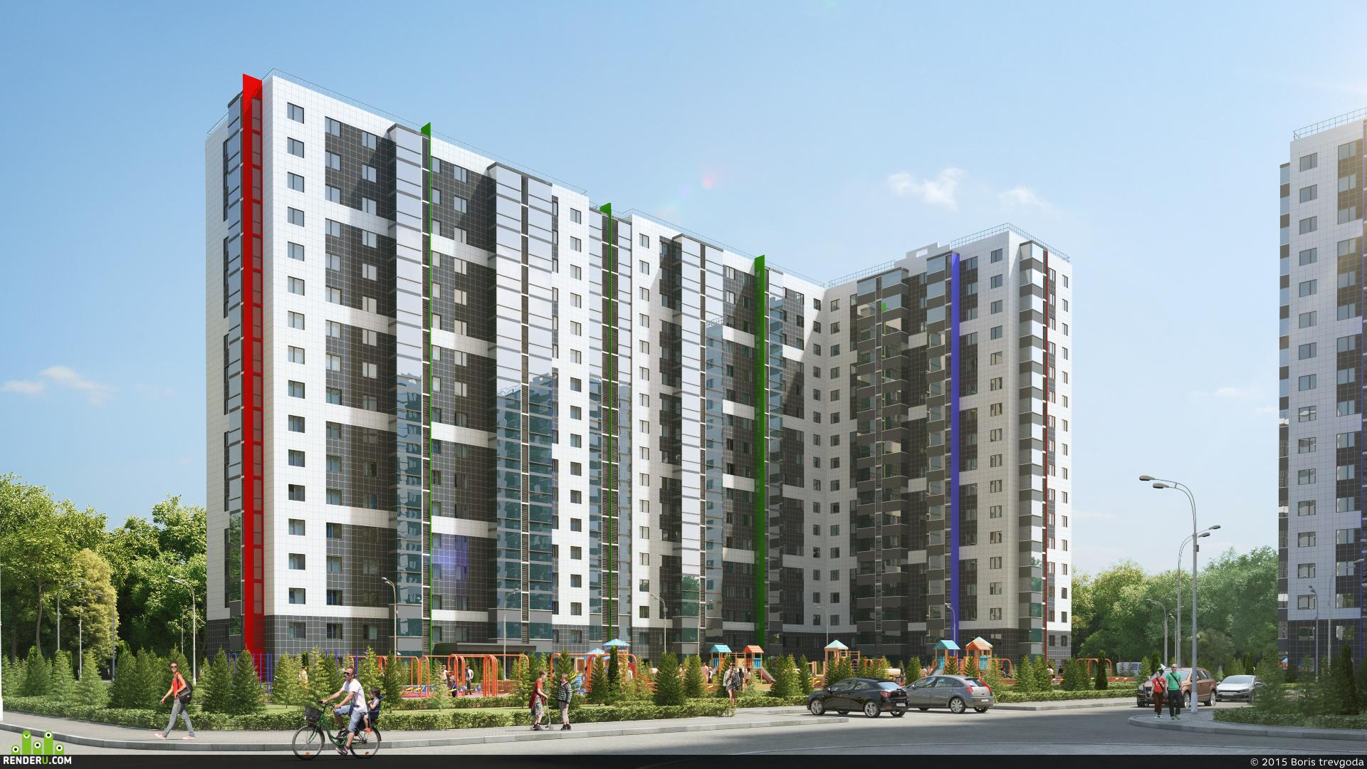 preview Визуализация жилого микрорайона