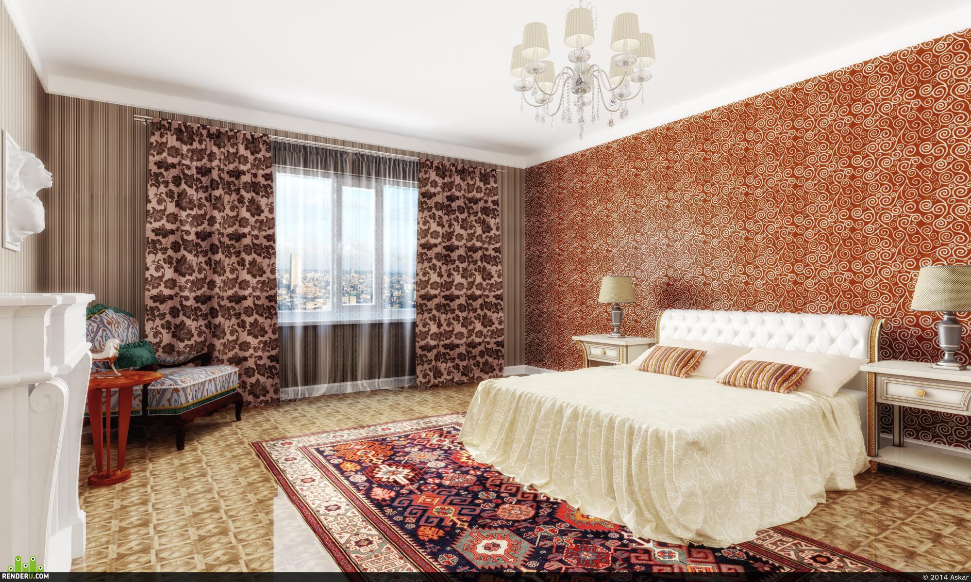 preview Спальня, классика с оттенками марокканского стиля