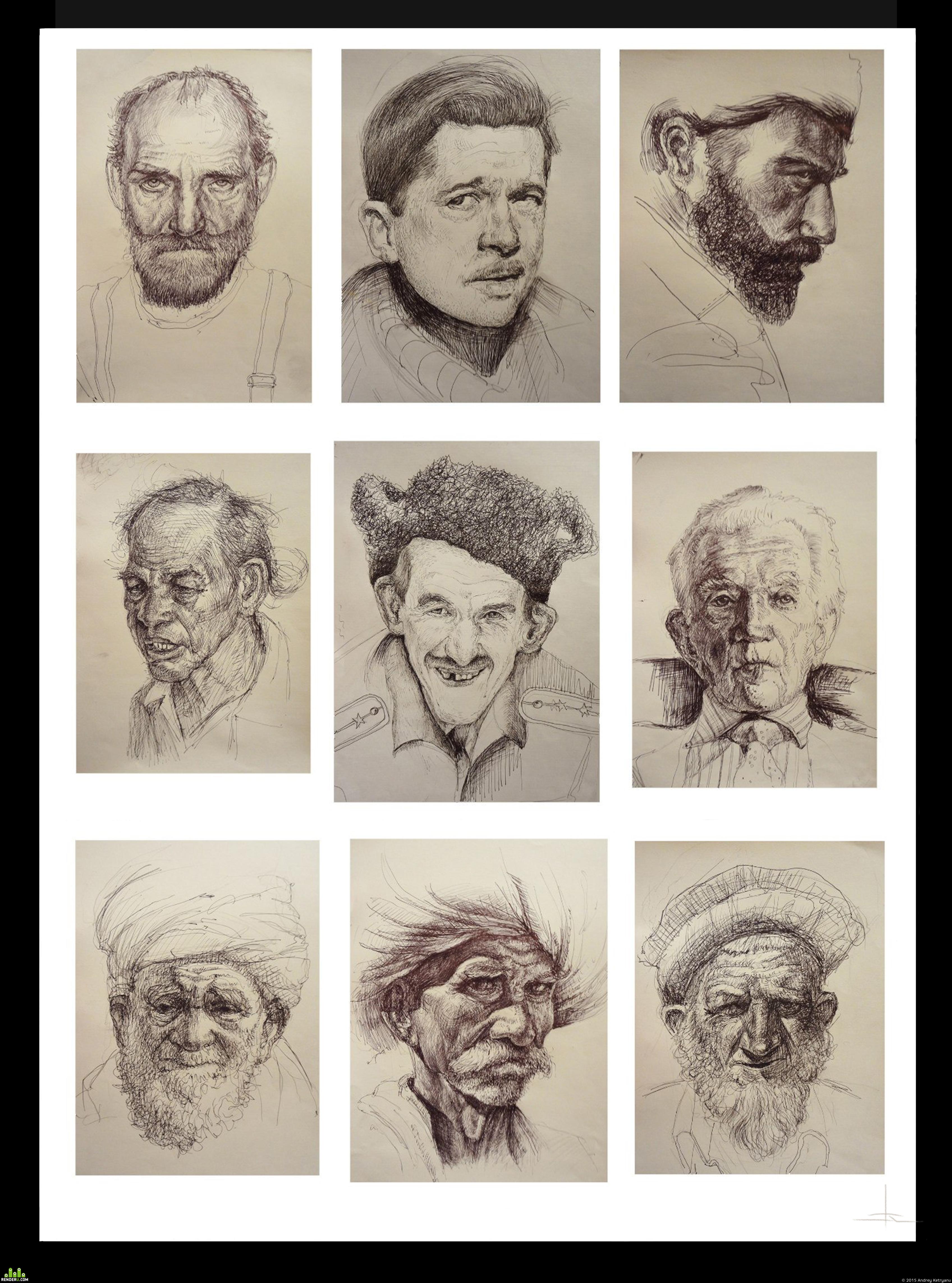 preview Портретные этюды шариковой ручкой
