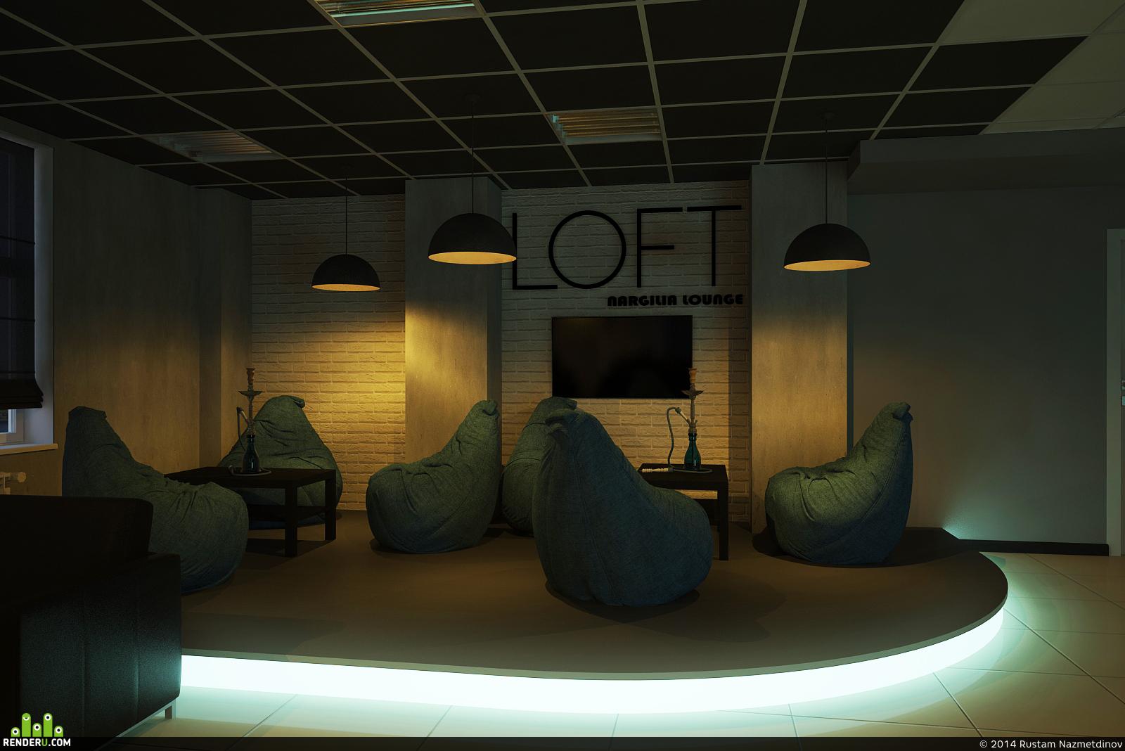 preview Дизайн-проект кальянной LOFT Nargilia Lounge г. Сургут 152м2