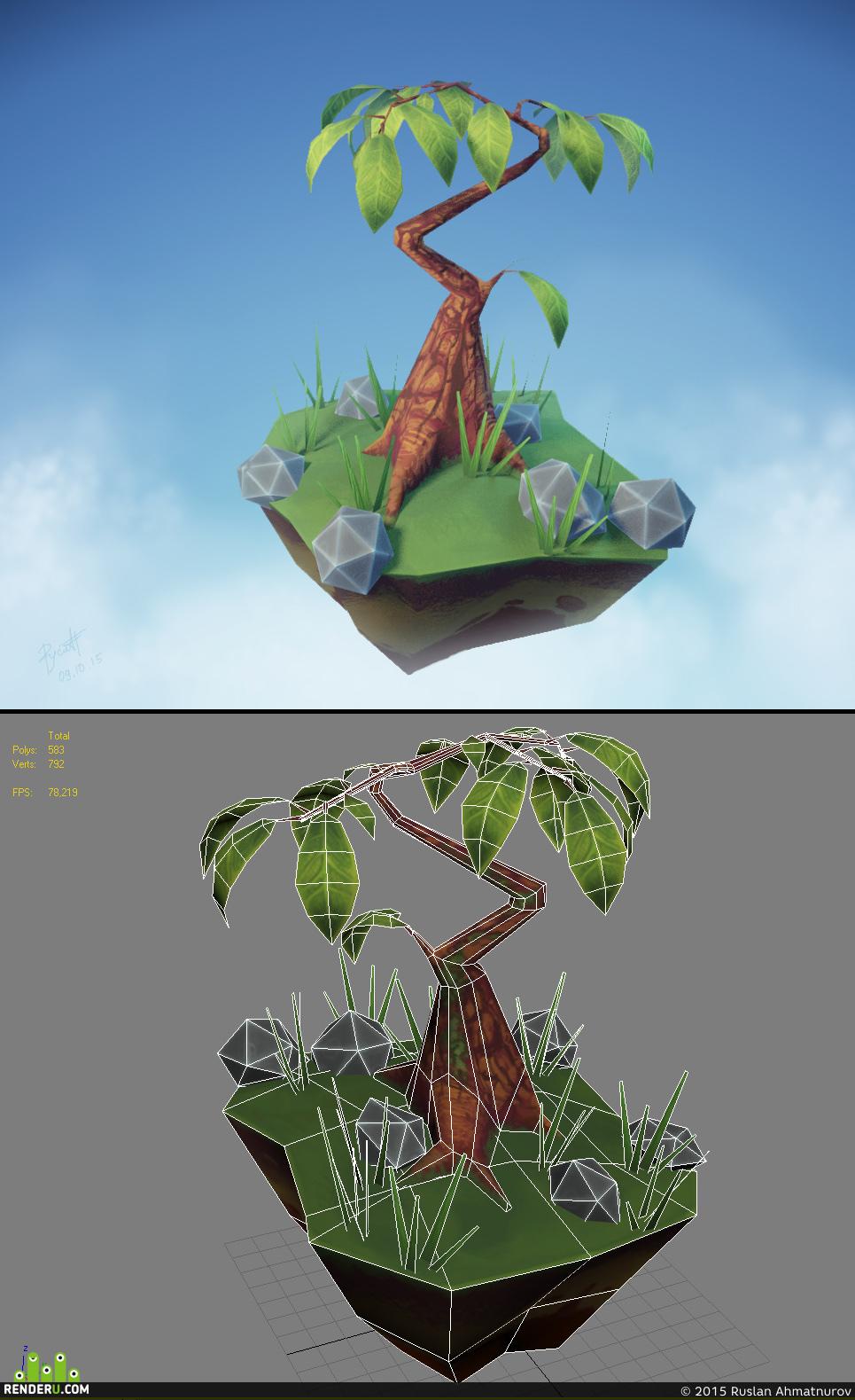 preview Дерево с большими листьями