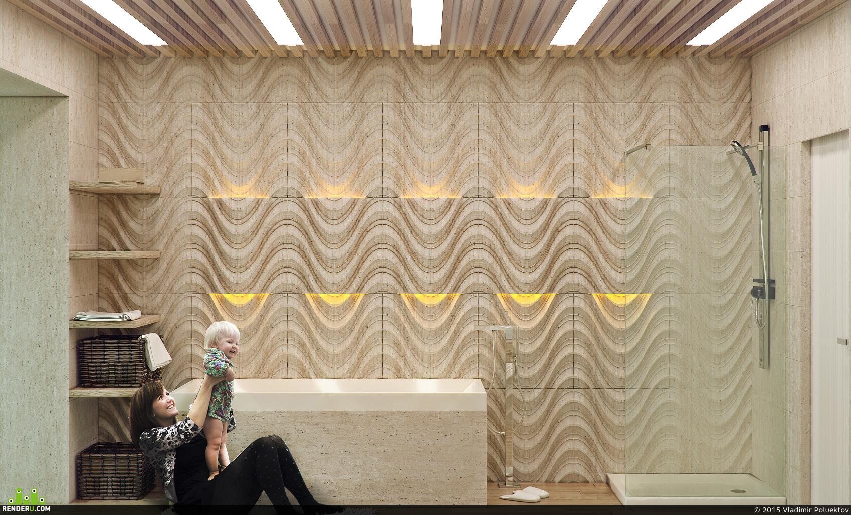 preview Ванная комната с каменными панелями Lithos design