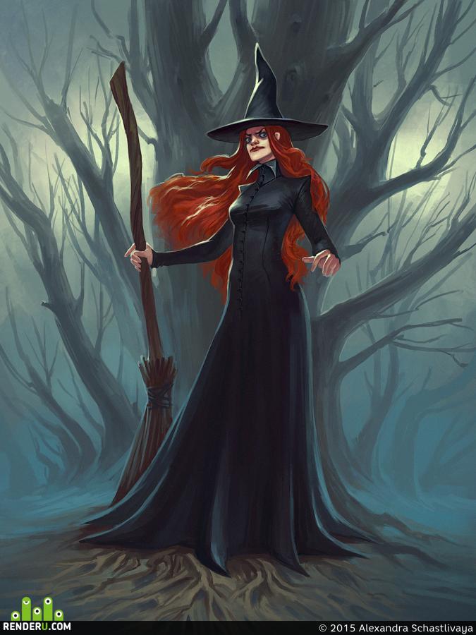 Картинка ведьмы в шляпе