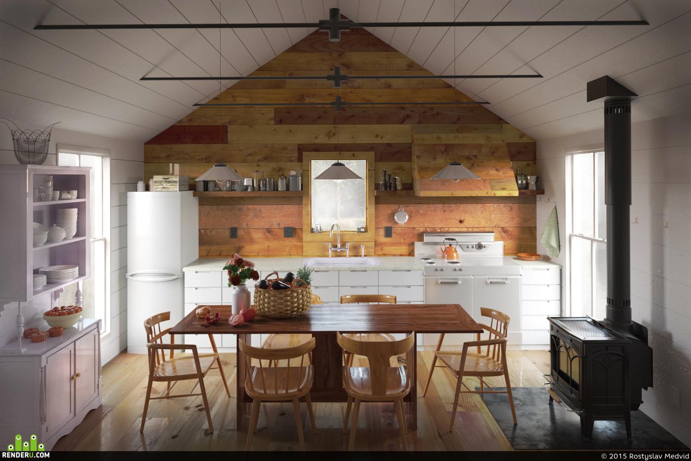 preview Комфортная кухня в маленьком деревянном доме