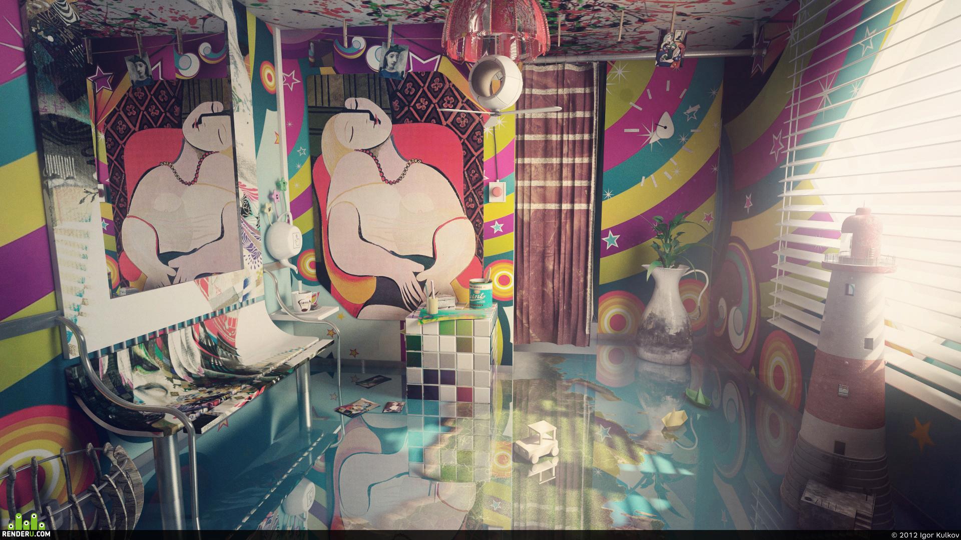 preview Абстрактный сюрреализм в интерьере