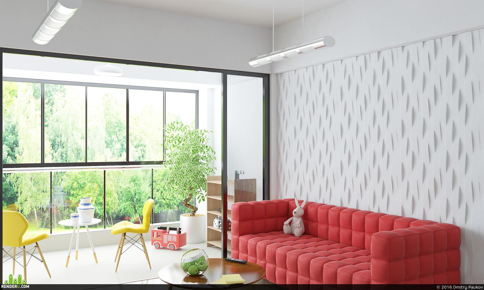 preview Гостиная с красным диваном