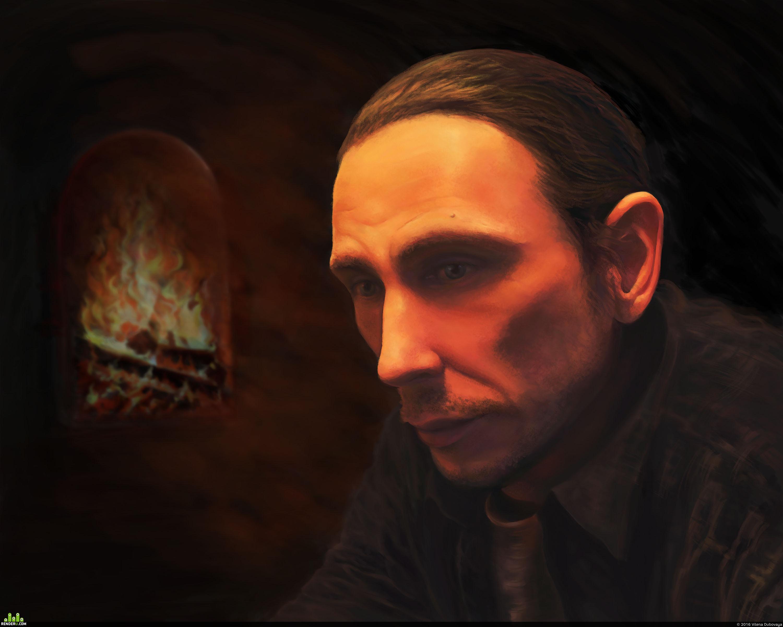 preview Задумчивый мужской портрет с камином