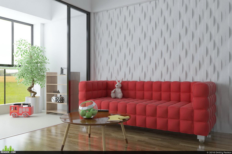 preview Красный диван в интерьере