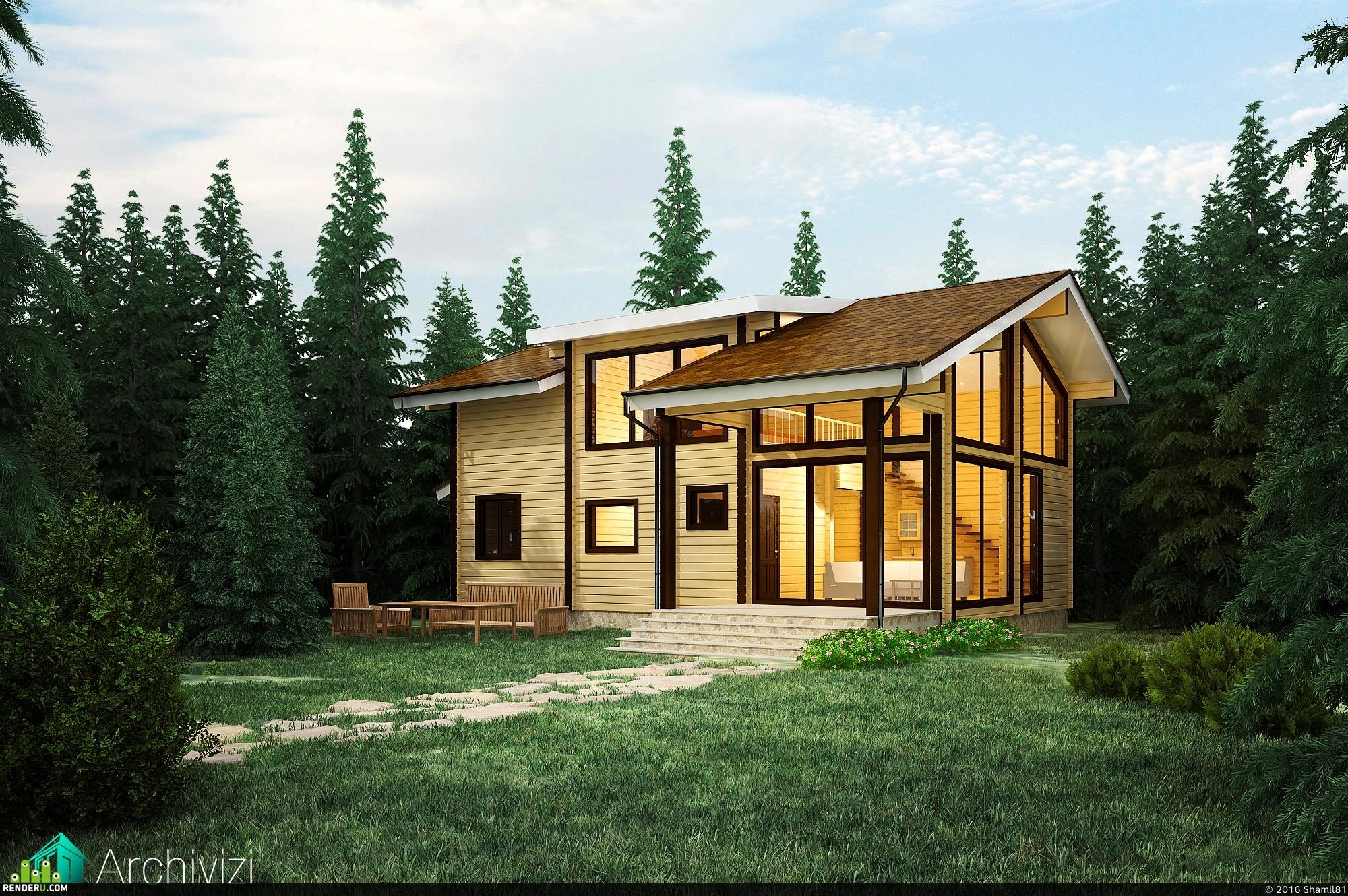 preview Рекреационный дом в еловом лесу