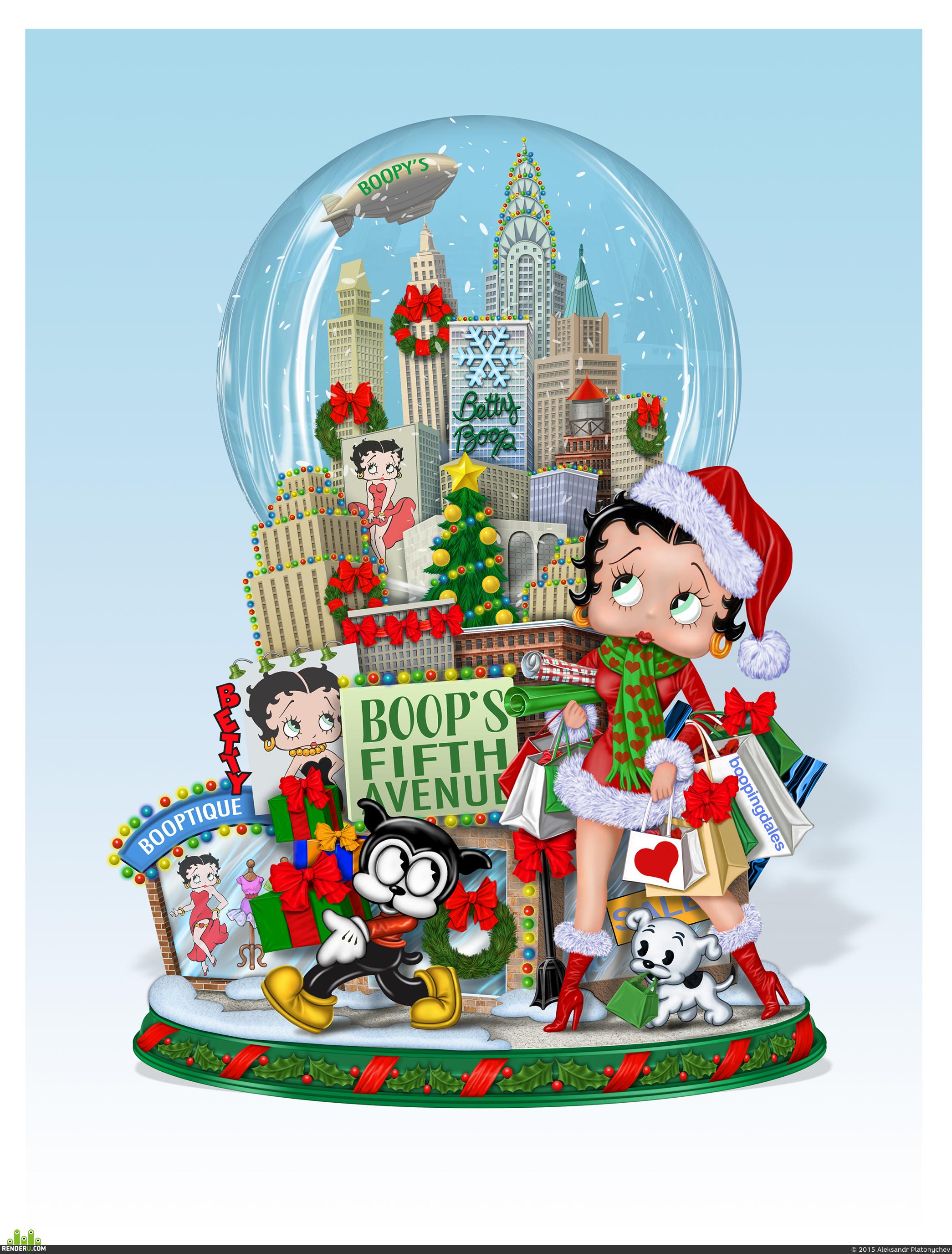 preview Betty Boop Новогодний шопинг Настольный Шар со снегом