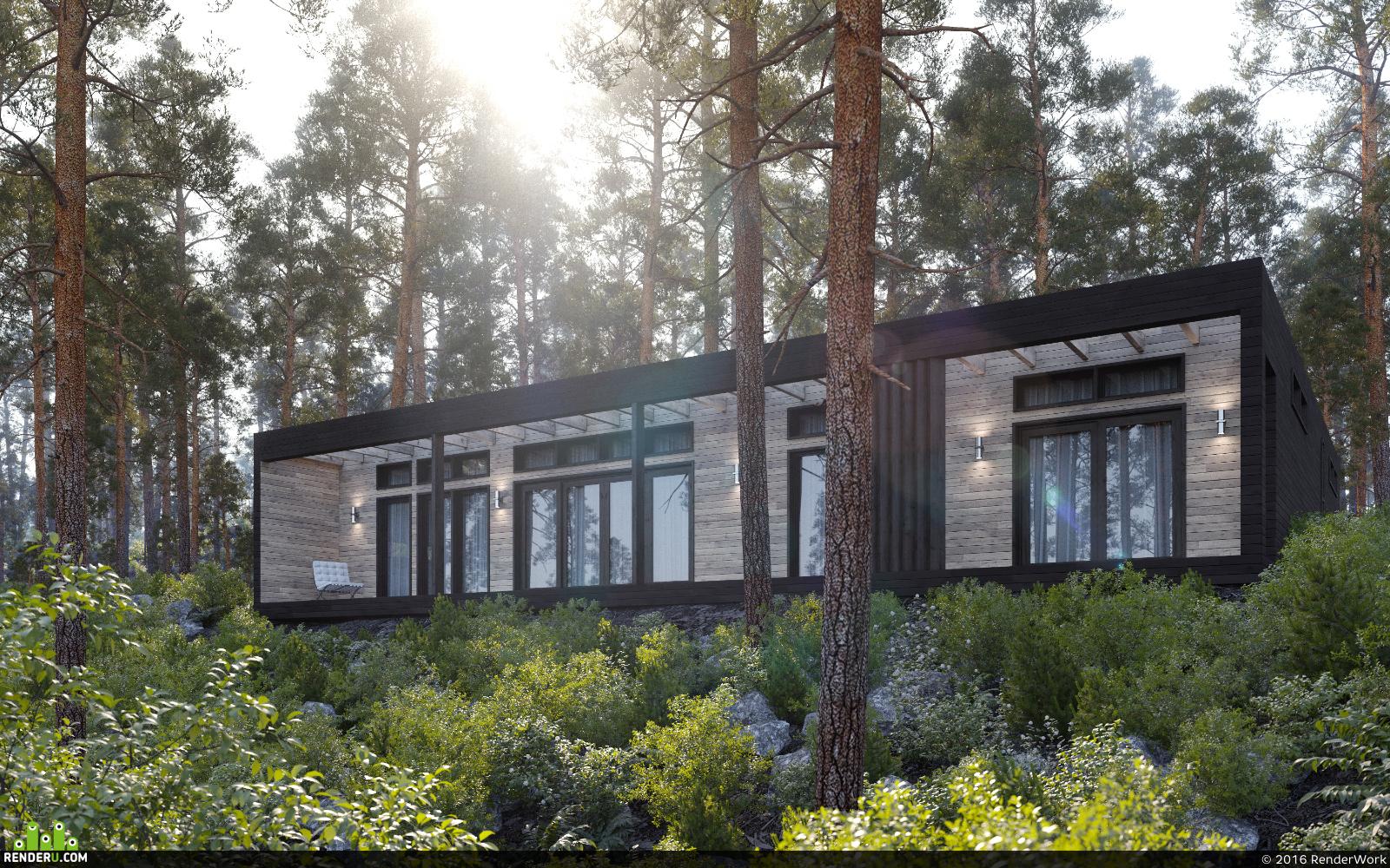 preview Визуализация деревянного дома