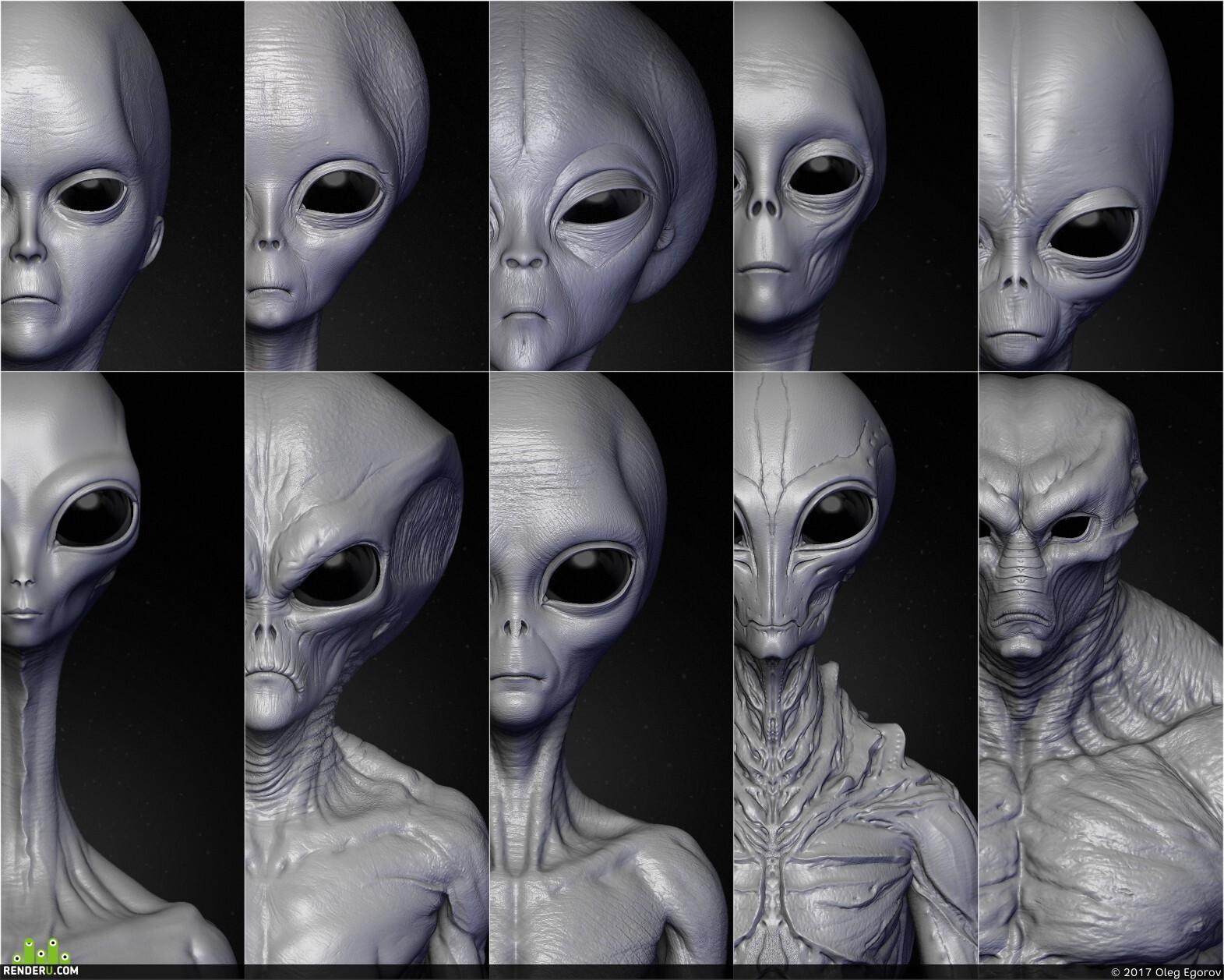preview Realistic Aliens sculpt